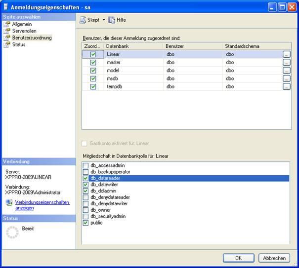 Anmeldeeigenschaften SQL Datenbank