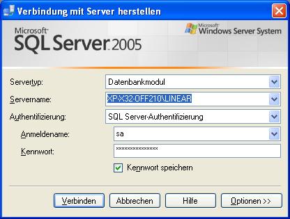 Verbindung mit Server herstellen